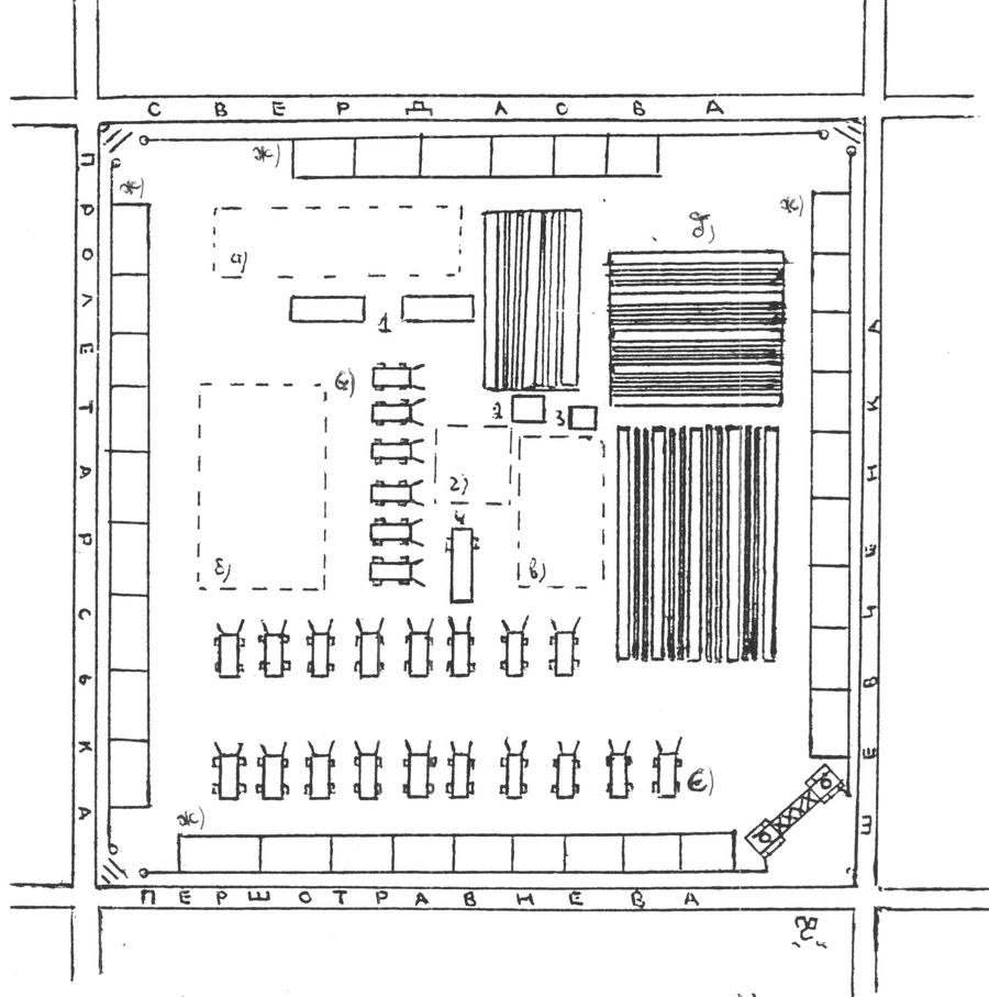 План-схема городского кременчугского колхозного базара 1940-1950 гг