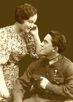 Молодая супружеская пара Гринфельдов после свадьбы.