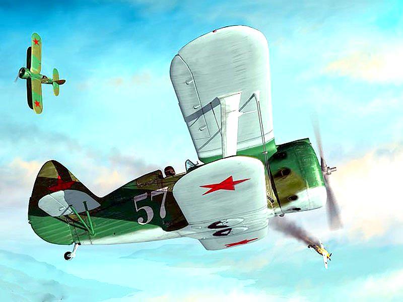 Пара 153 ведет бой с немецкими самолетами Ме-109