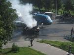 В Кременчуге грузовик загорелся на ходу (видео)