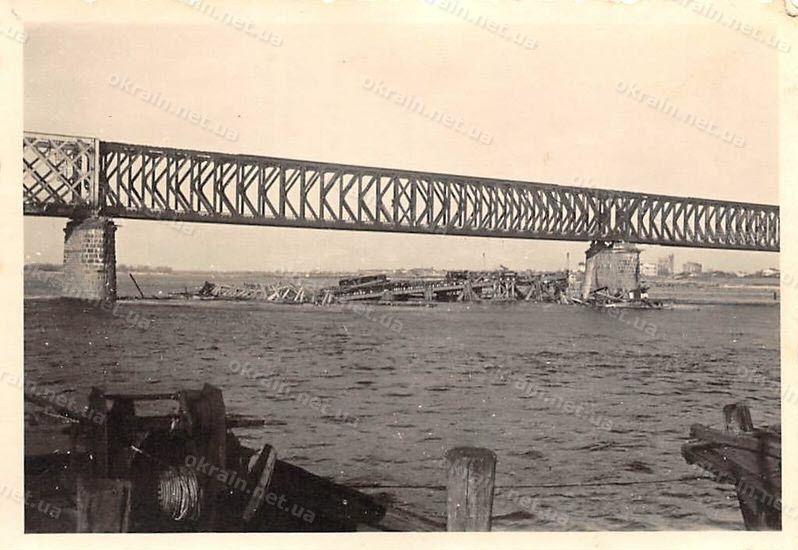 Восстановленный Крюковский мост в Кременчуге 1941 год