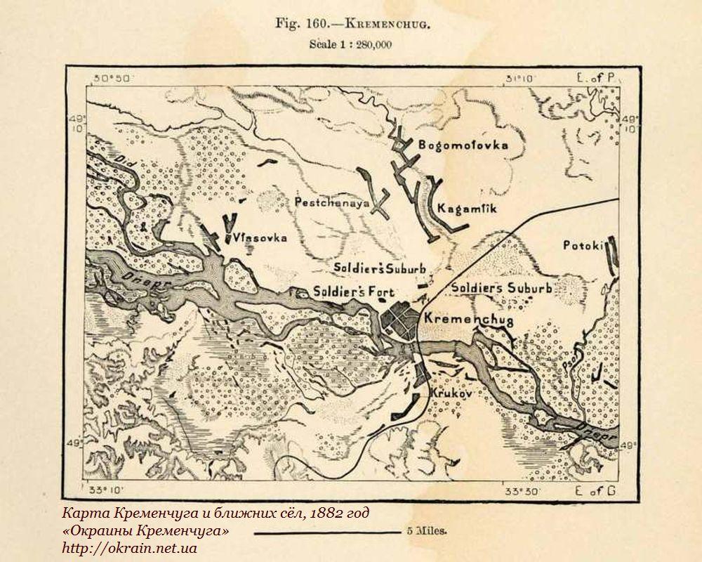 Карта Кременчуга и ближних сёл, 1882 год - фото 913