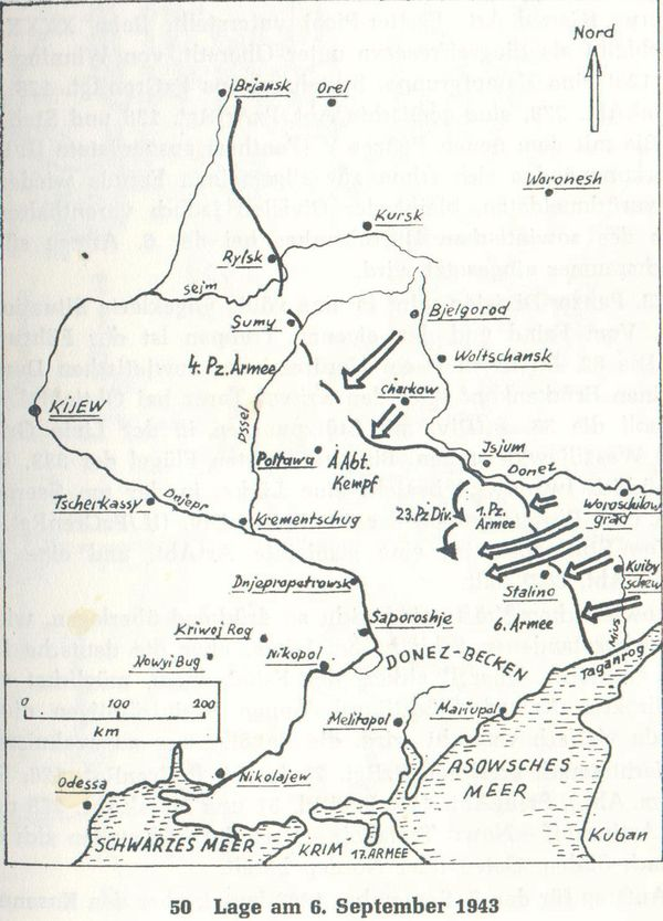 Линия фронта на 6 сентября 1943 года - карта 172