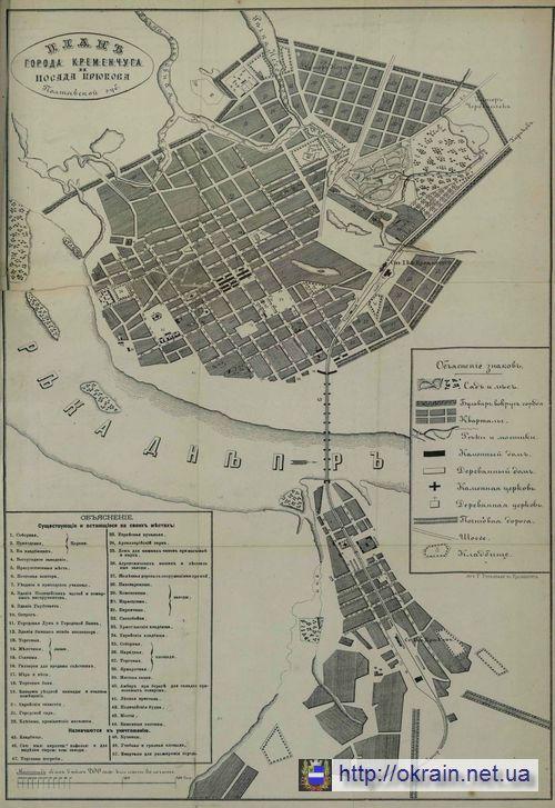 Карта Кременчуга 1875 год