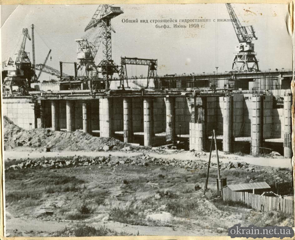 Вид строительства ГЭС с инженерного бьефа - июнь 1959 год - фото 659
