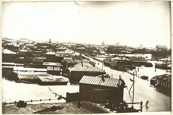 Вид с крыши ж/д вокзала (или водонапорной башни) на улицу Александровскую (ныне Первомайская). Кременчуг 1877 год