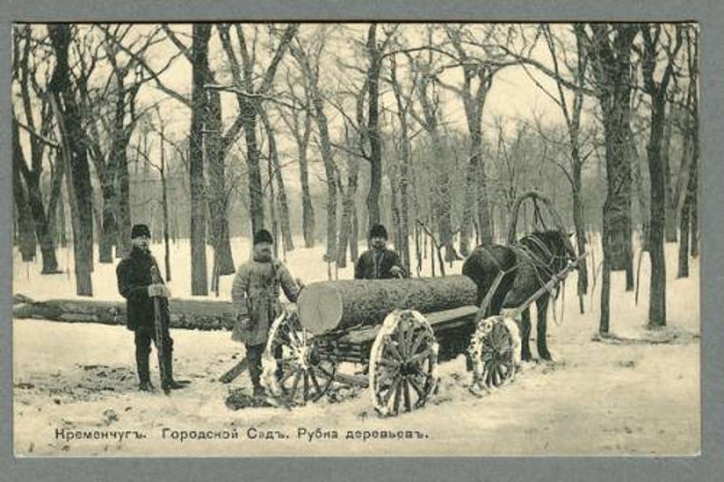 Городской сад Рубка деревьев Кременчуг открытка номер 54