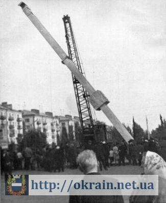 Фотография установки памятного знака в честь 400-летия Кременчуга в 1971 году