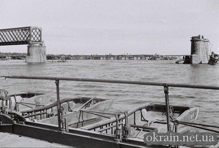 Фото разрушенного моста в Кременчуге с немецкой переправы - фото № 512