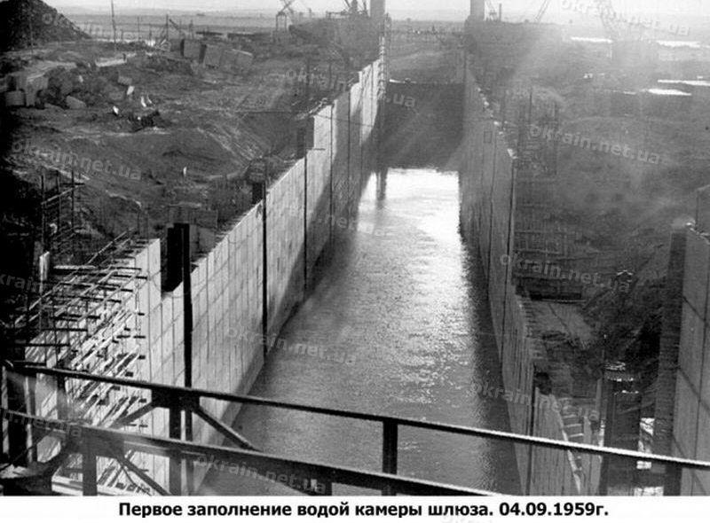 Первое заполнение водой шлюза Кременчугской ГЭС фото 1664