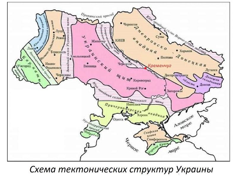 Схема тектонических структур Украины